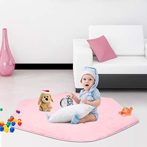 (SUNBA YOUTH Pink Hexagon Pad Coral Soft Mat Rug Carpet for Kids Play Tent Playhouse (Thickness 1.2CM))
