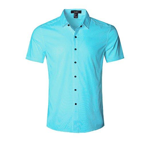 GILBETI Men's Slim Fit Solid Dress Shirts Button Down Cotton Short Sleeve Shirt (3X-LARGE, Blue)