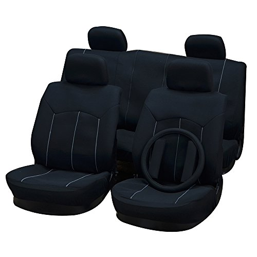 OCPTY Car Seat Cover, Stretchy Universal Seat Cushion w/Headrest Cover/Steering Wheel/Shoulder Pads 100% Breathable Automotive Accessories Washable Polyester for Most Cars(Black)