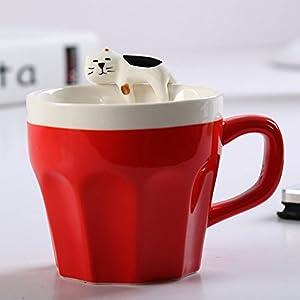 Saibang - Tazza da tè o caffè da 295 ml in ceramica per gli amanti dei gatti, motivo: gattini - Tazza (rossa) con cucchiaino da caffè (rosso)