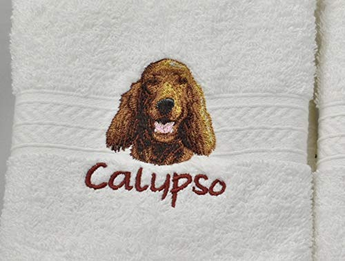 IRISH SETTER Dog Breed Luxury Spa Hand Towel or Golf Towel Embroidered Customized Full-Color with FREE Dog's Name Pet Lover Gift FREE SHIPPING