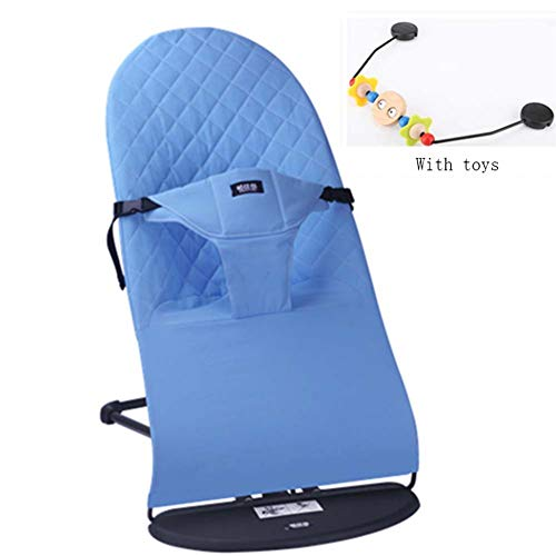 LALABOOM Balance Bouncer Baby Rocker Chair Cotton Adjustable Swing Angle Soothing The Baby's Artifact Sleeps for Newborn Baby 0-12 Months,Blue
