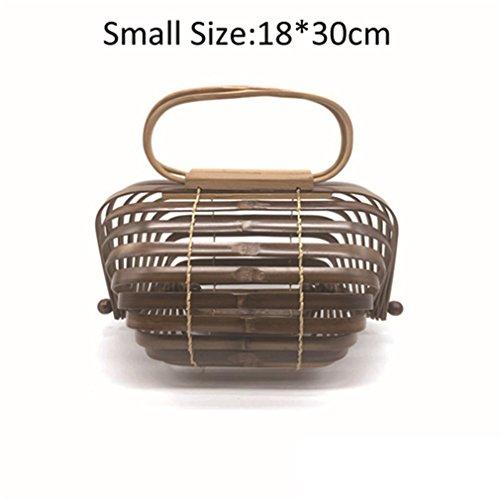 (WIEJDHJ Women Handbag Female Big Totes Bamboo Handbag For Ladies Handmade Woven Straw Beach Bag Summer Women's Purse Light Coffee Small 30cm-Max Length-50cm)