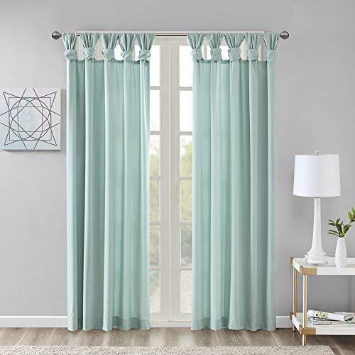 Cheap Comfort Spaces – Ekko Microtwill Twisted Tab Window Curtain Pair – Seafoam – 50×95 Inch Panel – 2 Panels