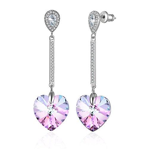 Heart Crystal Earrings Eternal Love Heart Drop Dangel Earrings with Swarovski Crystals, Blue & Purple Crystal Earring, Birthstone Birthday Love Gifts for Women, Valentines Fashion Gifts