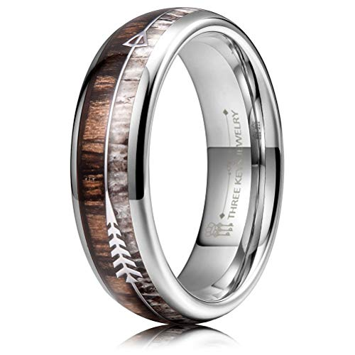 THREE KEYS JEWELRY 6mm Silver Tungsten Wedding Ring with Real Antler Zebra Wood Two Arrows Inlay Dome Hunting Ring Wedding Band Engagement Ring Size 13