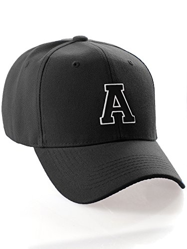 (Classic Structured Baseball Cap Cutstom Initial Letters A to Z Double Layer Raised - Black Hat White Black Letter)
