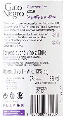 Gato Negro Carmenère Vino Tinto - Chile - Pack de 3 Bot. 75 cl