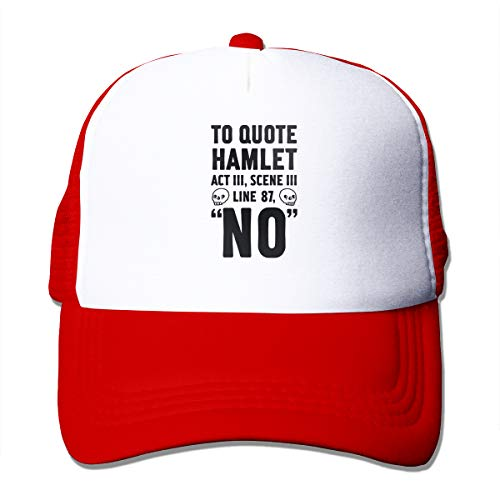 Rppuer to Quote Hamlet Act III, Scene Iii Line 87, No Adjustable Casual Mesh Cap for Men&Women Red One Size