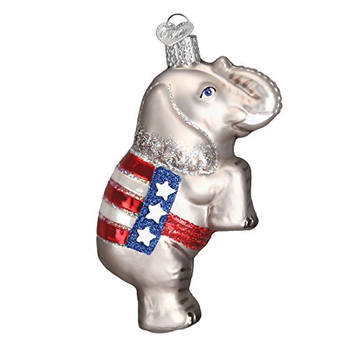 Old World Christmas Ornaments: Republican Elephant Glass Blown Ornaments for Christmas Tree ()