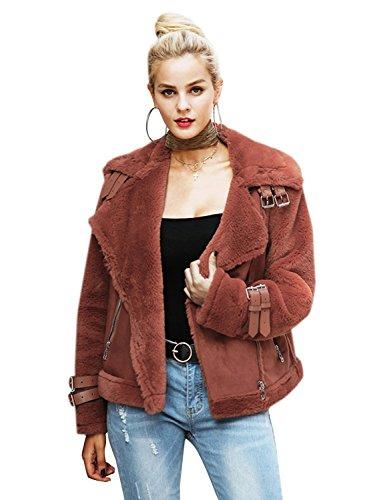 Faux Suede Fleece - Simplee Womens Winter Warm Loose Oversized Faux Suede Fleece Jacket Coat Outwear