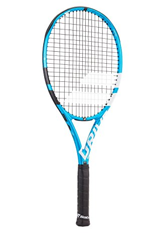 Babolat Pure Drive 107 Extended Black/Blue/White Tennis Racquet (4 3/8 Grip) Strung with White Color String (Best Lightweight All-Court Racket)