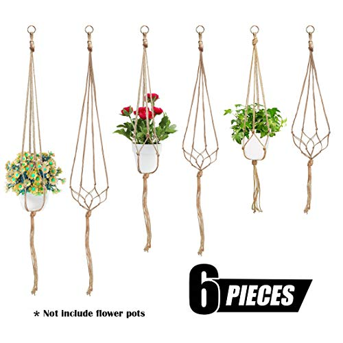 Diy Plant Hanger (Swpeet 6 Pack 3 Sizes Macrame Hanging Planter Holder Plant Hanger Kit, Hanging Planter Basket Rope Holder for Indoor Outdoor Decorations Beautiful Hanging Plant for Succulents, Cacti,)