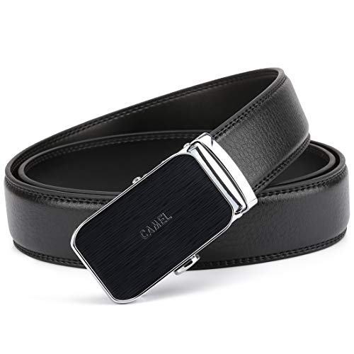 CAMEL CROWN Genuine Leather Men's Belt Ratchet Dress Belt Automatic Sliding Buckle&No Holes for Business Causal with Gift Box,Black (Crown Belt Leather)