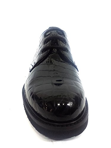 16023 NERO Scarpa donna allacciata Nero Giardini pelle cocco lucido
