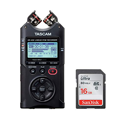 Tascam DR-40X Four-Track Audio Recorder/USB Audio Interface with 16GB SD Card Bundle