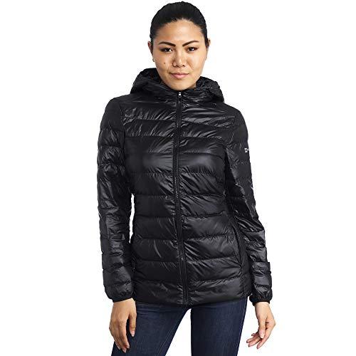 Alpine Swiss Eva Womens Down Alternative Puffer Jacket Hooded Light Packable Coat BLK 1XL