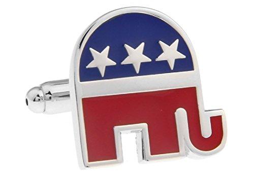 Elephant Gold Cufflinks - MRCUFF Republican Elephant Pair of Cufflinks in a Presentation Gift Box & Polishing Cloth