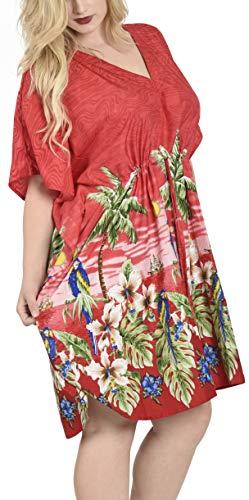 Rosso costumi likre bagno dell'ibisco p125 spiaggia tunica da insabbiamento dell'annata LA LEELA liscio vestito caftano UpwOOt