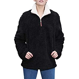 Women's Fleece Sherpa Pullover  Sweatshirt  Sweater Jacket