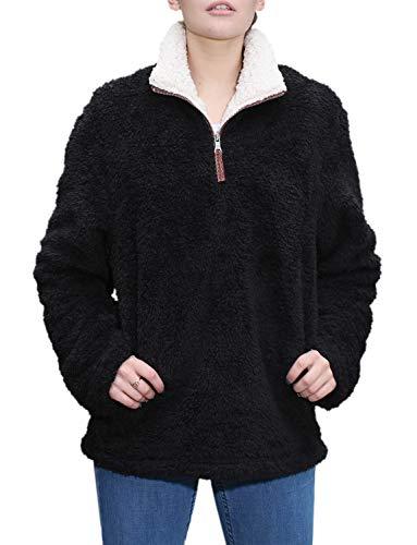 8b05ff1bcb1 Fleece Sherpa Pullover Womens Sweatshirt Long Sleeve Soft Fuzzy Outwear  Sweater Jacket 1 4 Zip