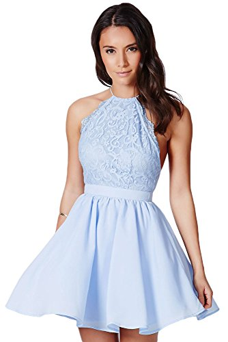 O&W Baby Blue Cross Back Lace Detail Party Skater (Baby Blue Dress)