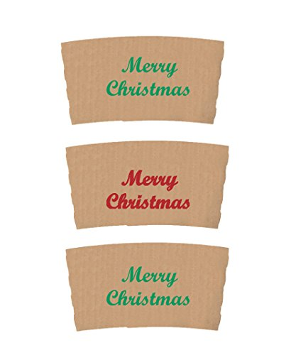 Perfect Stix Coffee Sleeves XMAS-50 Coffee Sleeves with Custom Xmas Print, Red/Green (Pack of 50)