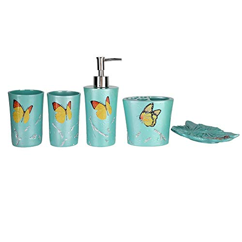 (5PC Bathroom Accessories Set Resin Soap Dispenser/Toothbrush Holder/Tumbler/Soap Dish Country Style Butterflies Bath Gift Set (Blue))