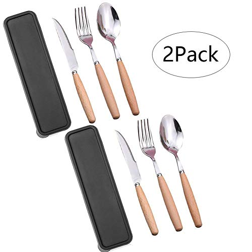 Portable Cutlery Set with Case,Camp Utensils Set,2 Pack Reusable Office Flatware Set,Healthy & Eco-Friendly 3pc Stainless Steel&Wood Full Size Fork,Spoon,Knife Ideal for Travel,Lunch Box and Camping