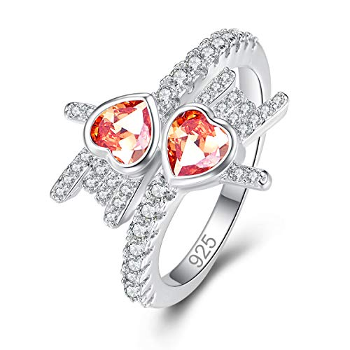 Humasol 925 Sterling Silver Filled Cubic Zirconia Morganite Promise Proposal Engagement Wedding Rings for Women Girl Size 9