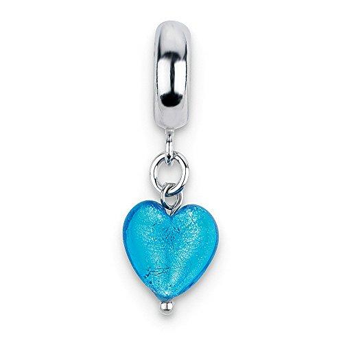 Jewelry Beads Glass Beads Sterling Silver Reflections Blue Heart Italian Murano Dangle Bead ()