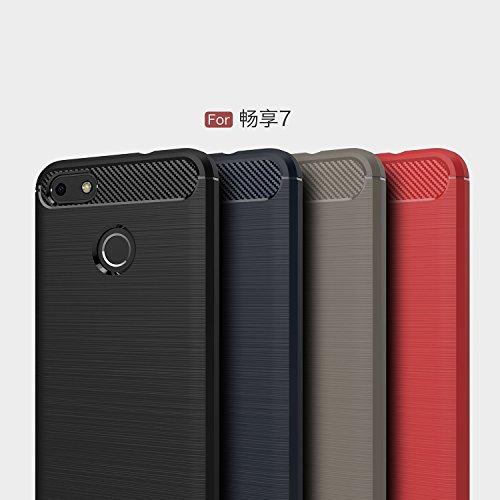 Funda Huawei Enjoy7 Plus,Alta Calidad Ultra Slim Anti-Rasguño y Resistente Huellas Dactilares Totalmente Protectora Caso de Cover Material de fibra de carbono TPU Adecuado para el Huawei Enjoy7 Plus D
