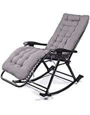 Comfortable Relax Rocking Chair Folding Lounge Chair Relax Chair with Cotton Fabric Cushion Nap Recliner 250kg Bearing(Color:Grey)