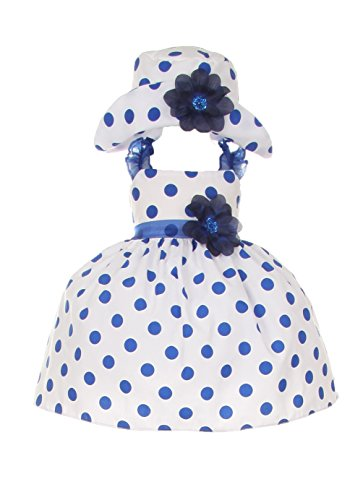 Cinderella Couture Baby Girls Polka Dotted Rockabilly Dress Hat Navy 12M M 1002 from Cinderella Couture