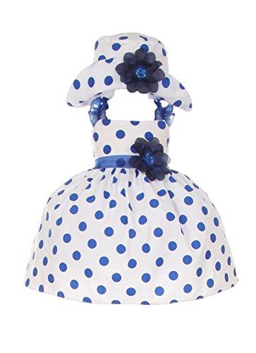 Cinderella Couture Baby Girls Polka Dotted Rockabilly Dress Hat Navy 12M M 1002