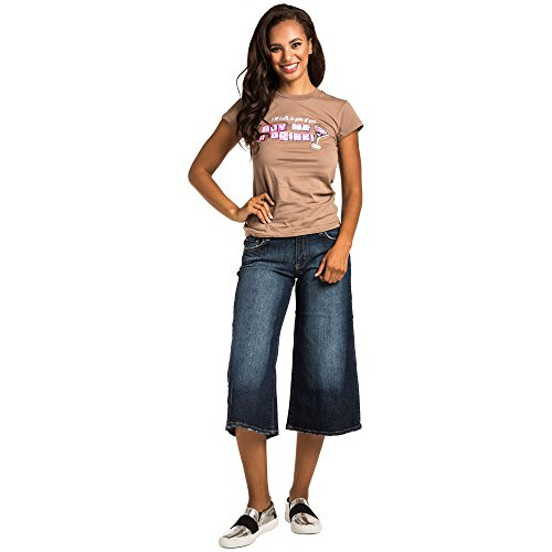 SweetVibes Junior Womens Dark Wash Denim Fashion Gaucho Cropped Length - Flare Dark Wash