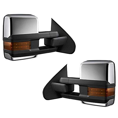 (syppo Pair Set of Tow Mirrors Fit for 2015-2018 GMC Sierra 2500HD - Power Heated + Amber LED Turn Signal + Backup Lamp (Chrome Housing))