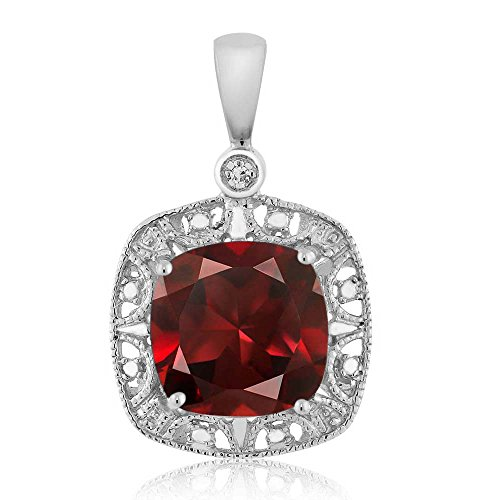 Gem Stone King 10K White Gold Cushion Red Garnet and Diamond Accent Necklace 2.74 cttw