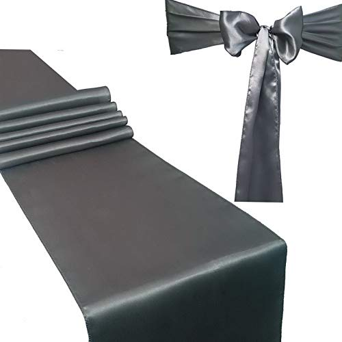 (Gatton Combo Pack - 2 Satin Table Runners 12 x 108 inch & 10 Chair Sashes, Bright Silk and Smooth Fabric Decor (Silver Grey) | Model WDDNG - 232 | Combo 2 Table Runner + 10 Chair Saches)