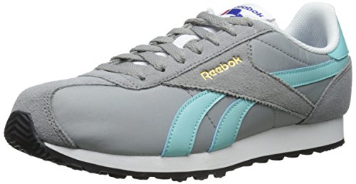 Reebok Women's Royal Alperez Run Classic Shoe, Flat Grey/Crystal Blue/White/Black/Reebok Brass, 8.5 M US