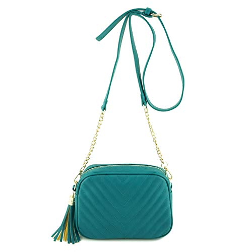 - Simple Shoulder Crossbody Bag With Metal Chain Strap And Tassel Top Zipper (Turquoise)