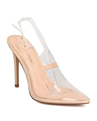 [Women Pointy Lucite Slingback Pump - Dressy, Costume, Dancer - Transparent Stiletto Heel - GD30 By Liliana - Nude (Size:] (Aztec Dancers Costumes)