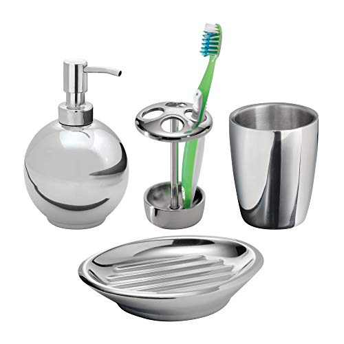 mDesign Bath Accessory Set, Soap Dispenser Pump, Toothbrush Holder, Tumbler, Soap Dish - 4 Pieces, Polished Stainless Steel