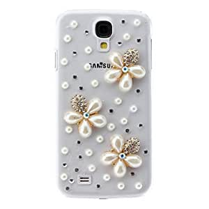 HC- Flor de la perla del caso duro del patrón con el Rhinestone para Samsung i9500 Galaxy S4