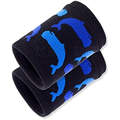 Sports Wristbands WristGuards Nylon Sweat-Absorbent Breathable Non-Slip Whale Pattern Purple Blue Grey for Basketball Soccer Jogging Fitness Fitness Men Women Kids Arthritis and Carpal Tunnel Estimated Price £14.60 -