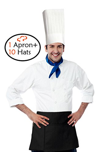 TigerChef TC-20266 Hat and Apron Kit, Includes 3 Pocket Waist Apron and 10 Disposable 12