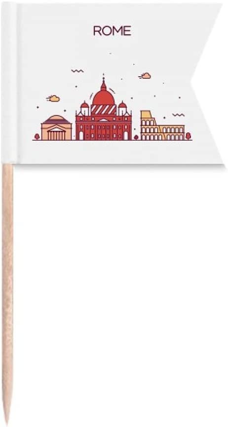 Rome Italy Flat Landmark Pattern Toothpick Flags Labeling Marking for Party Cake Food Cheeseplate