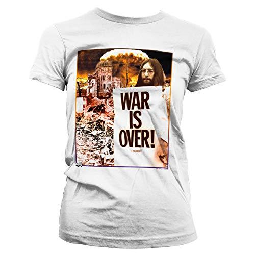 Officially Licensed John Lennon - War is Over Women T-Shirt (White), Medium