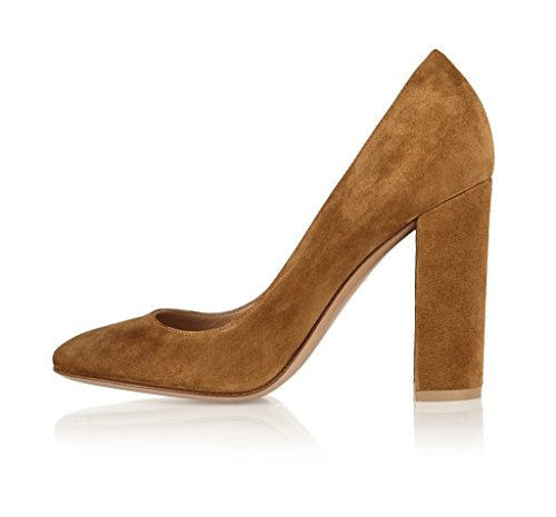 Sammitop Women's Round Toe Block Heel Pumps Suede Chunky Heel Dress Shoes Brown US9
