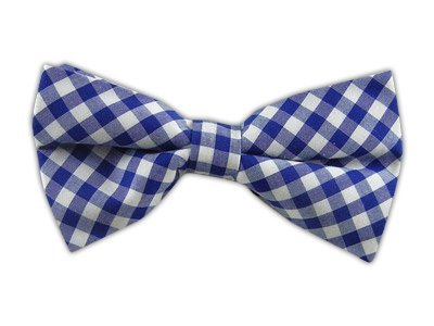 The Tie Bar 100% Cotton Royal Blue New Gingham Plaid Self-Tie Bow Tie